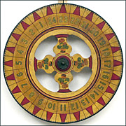 SOLD Antique American Folk Art Carnival Wheel - Game of Chance - Americana - Wooden Gaming Whe