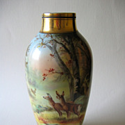 Hand Painted Vase, Woodland Scene with Deer, Donath Studio, signed HEIDRICH