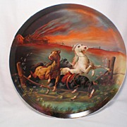 "Hand Painted Limoges 16"" Wall Plaque ""Fleeing Wallachian Horses"" Pickard Artist Signed WEISS"