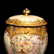 Early Martial Redon Limoges Handpainted Biscuit Jar