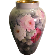 Absolutely Stunning ~ MAGNIFICENT Limoges France Hand Painted Antique MAMMOTH VASE Large Pink Burgundy White CABBAGE ROSES Pristine Condition Circa 1900's