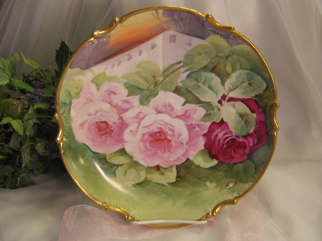 """""""BREATHTAKING FRENCH TRIO OF ROSES"""" Gorgeous Antique Limoges France Hand Painted Decorative Art Wall Charger or Cabinet Plate Famous Listed French Artist Signature """"LUC"""" Circa 1900"""