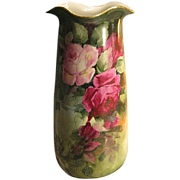 """Absolutely Magnificent Antique Limoges France 14 1/2"""" VASE Roses Exquisite Victorian PINK and BURGUNDY ROSES Hand Painted Turn-of-the-Century Impressive Rare Mold Circa 1900"""