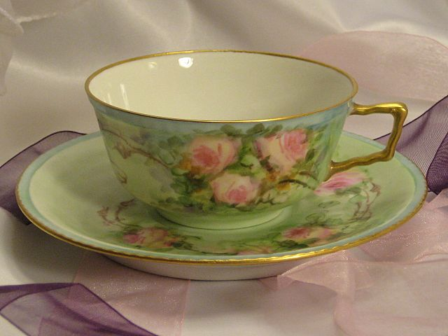 """""""FRENCH BABY PINK ROSES TEA CUP & SAUCER"""" Antique Limoges France Teacup & Saucer Hand Painted Vintage Victorian Floral Art China Painting 19th Century American China Painter Circa 1900"""