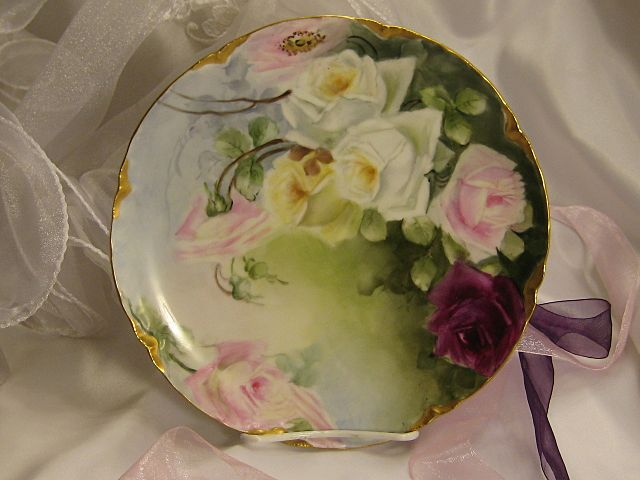 """""""FRENCH TEA ROSES PERFECTION"""" Gorgeous Antique Limoges France Hand Painted Decorative Art Cabinet Plate Haviland & Co circa 1893 - 1930"""