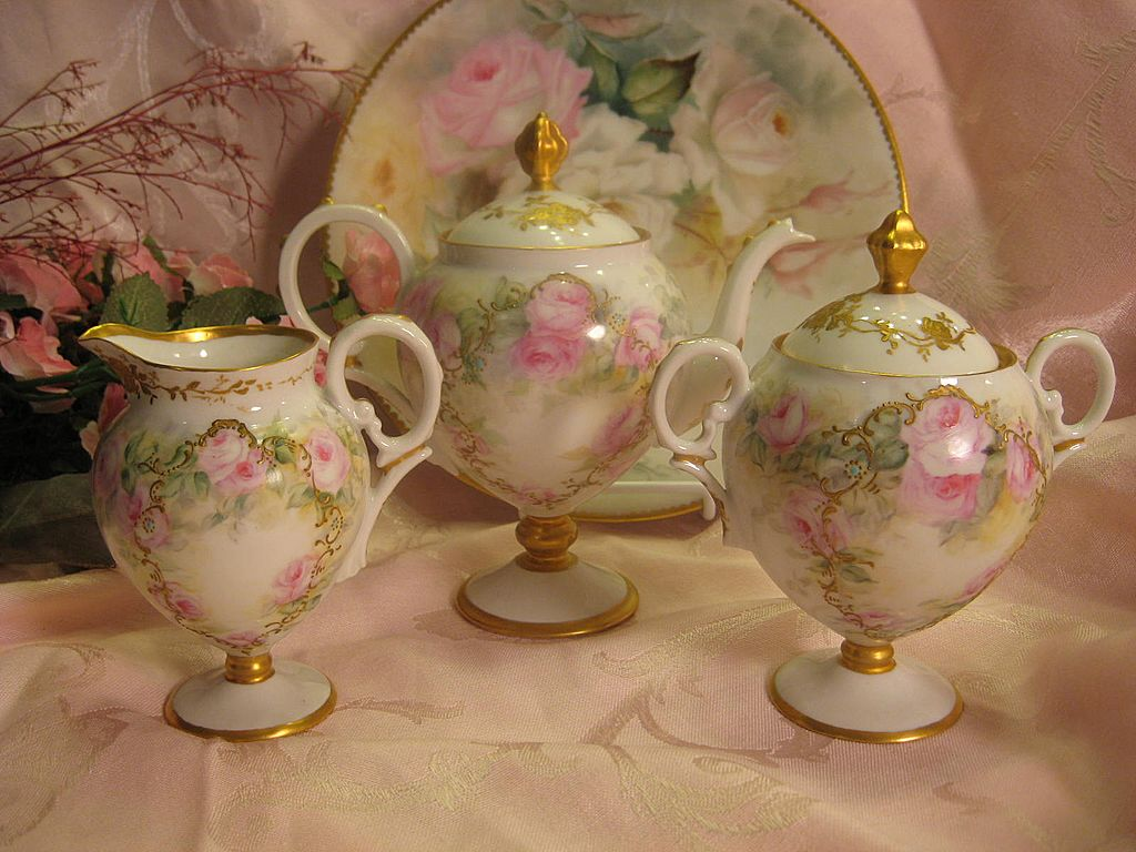 Gorgeous Limoges French Roses Tea Service ~ Tea Pot Creamer Sugar ~ Hand Painted Pink Roses ~ Outstanding Victorian Heirloom Treasure ~ Raised Gold Paste Work ~ Artist Signed ~ Jean Pouyat ~ Circa 1907