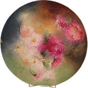 """""""STUNNING VICTORIAN MUMS"""" Absolutely Stunning Large 16"""" Antique Hand Painted Limoges France Charger Plaque Tray Plate Vintage Victorian Heirloom Floral Art China Painting Original ONE-OF-A-KIND Handmade Artistry Fine French Jean Pouyat Circa 1900"""