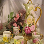 ~ Absolutely Gorgeous Antique Limoges French Hand Painted Chocolate Set ~ Beautiful Porcelain Mold ~ including  Chocolate Pot and Four Unique Individual Antique Hand Painted Chocolate Cups and Matching Saucers ~ Artist Signed ~ Circa 1900
