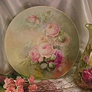 """""""BEAUTIFUL ROMANTIC SOFT ROSES"""" Large 13-5/8"""" Antique Hand Painted Limoges France Fine Art Plaque Charger Chop Plate Tea Service Tray Floral Art China Painting Artist Signed Fine French Porcelain T&V circa 1900"""