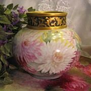 ~ Gorgeous Large Antique Limoges France Hand Painted Vase Rose Bowl ~ Superb Artistry Floral Art China Painting ~ Exceptional  PINK, BURGUNDY, WHITE & YELLOW CHRYSANTHEMUMS ~ Artist Signed  ~ Jean Pouyat, Circa 1891 - 1932
