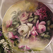 """""""ROMANTIC VICTORIAN ROSES"""" Absolutely Stunning Large 16"""" Antique Hand Painted Limoges France Charger Plaque Tray Plate Vintage Victorian Heirloom Floral Art China Painting Original ONE-OF-A-KIND Handmade Artistry Fine French T&V Circa 1900"""