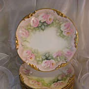 """Breathtaking Museum Quality"" Gorgeous Antique Limoges France DESSERT PLATES ~ Set of 10 ~ Breathtaking Hand Painted Roses ~ Artist Signed ~ Exceptional Gold ~ Jean Pouyat Circa 1900"