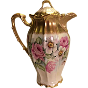 Victorian Roses CHOCOLATE COCOA POT Antique Limoges France Chocoliatiere HAND PAINTED ROSES Fine Vintage Heirloom China Painting Circa 1900