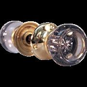 Purple glass doorknob set