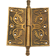 Solid brass ornate Eastlake pintel hinge