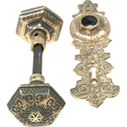 Antique ornate hexagonal Corbin knob from late 1800's