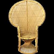 Old wicker fan back chair