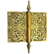 Bronze ornate pintel hinge with steeple tips
