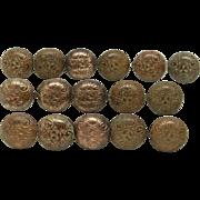 SOLD Set of ornate floral six fold bronze knob pulls