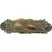 Bronze beaded lion oval entry knob set