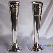 """Old Wilcox  Silver Plated Vases 12"""""""
