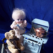 SALE Tiniest Jointed Glass Eyed Teddy and Cast Metal Chair