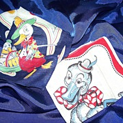SALE 2 Children's 1950's Pictorial hankies by Tom Lamb