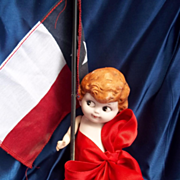 All Bisque Carnival Kewpie Dressed in Red Ribbon As Is