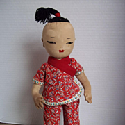 """15"""" Soft Sculpted Cloth Doll in Chinese Clothing from 40's"""