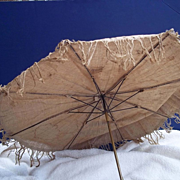 SALE Doll's Parasol with Carved Tip and Fringe
