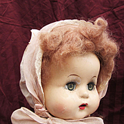 Pink Organdy Bonnet for larger Midcentury doll