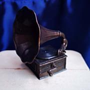 SALE Dollhouse Size Metal Victrola or Gramophone
