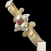 Vintage Bar Pin Brooch, Garnet Glass Rose Cut Rhinestone, Two Tone
