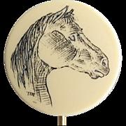 Vintage Scrimshaw Horse Carving Stick Pin Brooch, Animal Figural