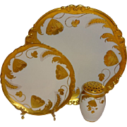 Classic - Antique - Hand Painted - Stouffer - Poppies - Wheat - Stylized - Embossed Design - Plate - Charger - Muffineer - Artist Signed - Carl Buschbeck - Circa 1914 - Museum Quality - Only Fine Lines