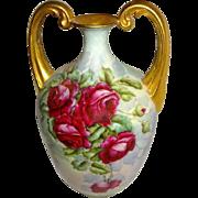 """Magnificent - """"Strong Arm"""" - Vase - HAND PAINTED - Romantic Bouquet - Crimson Roses"""