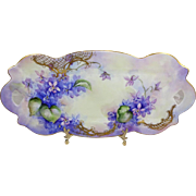"Limoges - France - 13"" - Vanity - Dresser - Tray - Hand Painted - Romantic Bouquets - Blue Amethyst Violets - Ornate Gold Accents - Turn-of-the-Century - Excellent Quality - Only Fine Lines"