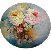 """Limoges -  France - 13"""" - Charger - Chop Plate - Tray - Hand Painted - Victorian Bouquet"""