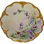 Limoges - FRANCE - Charger - Plate - Hand Painted - Violets - Rococo Gilded Border - Artist SIGNED - One-of-a-Kind - Museum Quality - Only Fine Lines