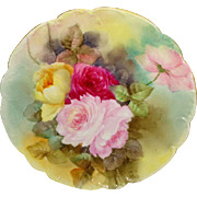 HAVILAND - Limoges - France - Plate - Hand Painted - Victorian Bouquet - ROSES - Circa 1931 -