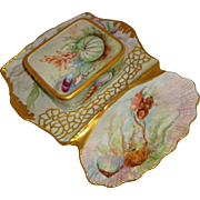 Fabulous - T&V - Limoges - France - Sardine Set - Hand Painted - Tray - Box - Seashells - Cora