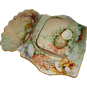 T&V - Limoges - France - Sardine Box - Tray - Hand Painted - Seashells - Artist Signed - Circa