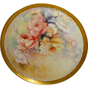Antique - T&V - Limoges - France - Charger - Tray - Hand Painted - Romantic Roses - Artist Signed - Circa 1907 - Only Fine Lines