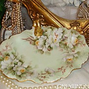 SOLD Limoges - France - Tray - Hand Painted - Antique White Tea Roses - Gilded Handle - Signed