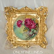 "Limoges - France - Plate - Hand Painted - Roses - Artist Signed - Magnificent - 15"" Gold Leaf Frame - Only Fine Lines"