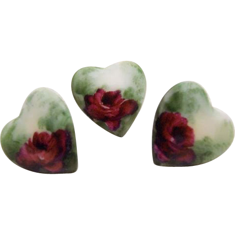 3 Victorian - Edwardian - Heart Shaped - Buttons - Studs - Hand Painted - Crimson Tea Roses - Lush Greenery - Rare - Only Fine Lines