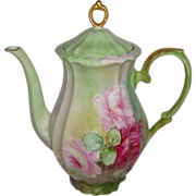 Gorgeous French Victorian Bouquet - Large Pink  Tea Roses - Expertly Hand Painted on European Porcelain - German - Germany Bavaria - Coffee Pot - Coin Gold Accents – Twentieth Century Artwork - Only Fine Lines