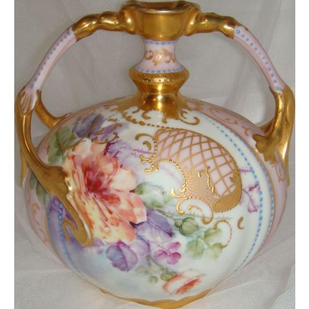 "Limoges - Vase - Roses - Ornate Gilded Design - Duel Handles - ""Jewels"" - Museum Quality - Only Fine Lines"