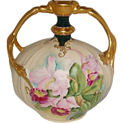 Limoges - France - Two Handle - Vase - Hand Painted - Romantic Bouquet - Pink Orchids - Gilded Design -  Pink Enamel Jewels - Only Fine Lines