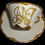 Haviland - Limoges - France - Cup - Saucer - Gilded Monogram - Gold Beading - Enamel Blue Jewe